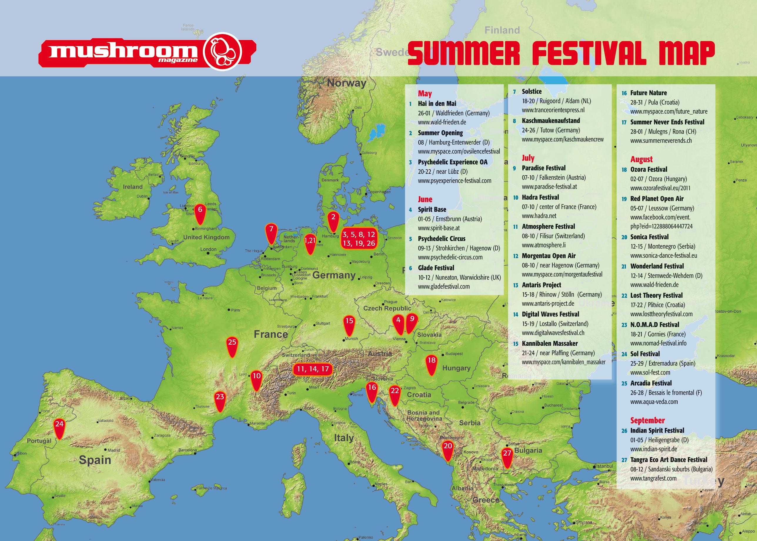 fesztivál térkép magyarország Fesztivál Térkép 2011 | :::: Goa.hu :::: fesztivál térkép magyarország